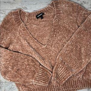 NWOT Express Metallic Plush Chenille Pink Sweater